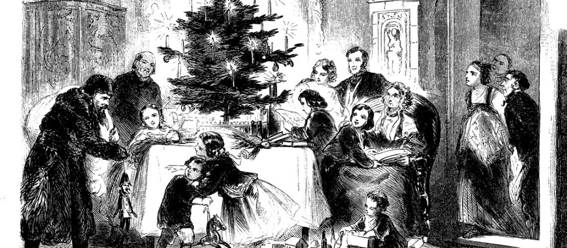 Upper class home: Santa Claus is coming with Christmas presents and toys for the children, vintage illustration